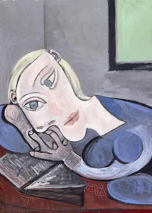 Pablo Picasso, Femme Couchée Lisant, 1939.  Musée Picasso, Paris © Picasso Estate/SODRAC (2016) Image: © RMN-Grand Palais / Art Resource, NY Photo: J.G. Berizzi.