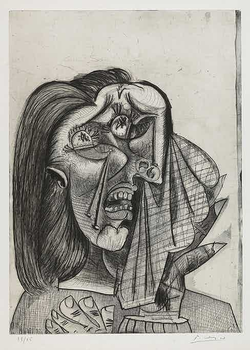 Pablo Picasso, Weeping Woman, etching 1937. Image courtesy of National Gallery of Canada, Ottawa © Picasso Estate/SODRAC (2016).