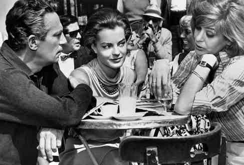 Left to right: Peter Finch as Paul, Romy Schneider as Clair, and Melina Mercouri as Maria, in '10:30 P.M. Summer', directed by Jules Dassin, 1966. Photo by Silver Screen Collection/Getty Images.