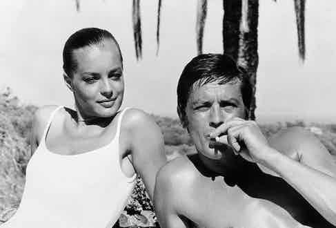 """Alain Delon and Romy Schneider in 1968 during the filming of """"La Piscine"""" (The Swimming Pool) in Cannes. Photo by: AFP/Getty Images."""