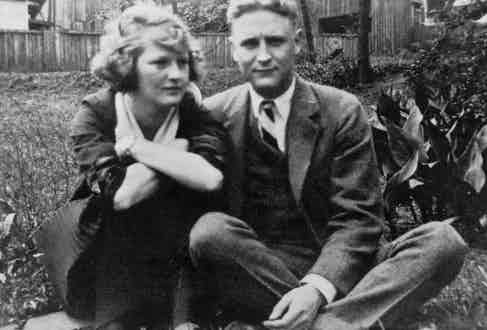 Zelda Sayre and F. Scott Fitzgerald pose for a photo at the Sayre home in Montgomery, Alabama, in 1919, the year before they married.