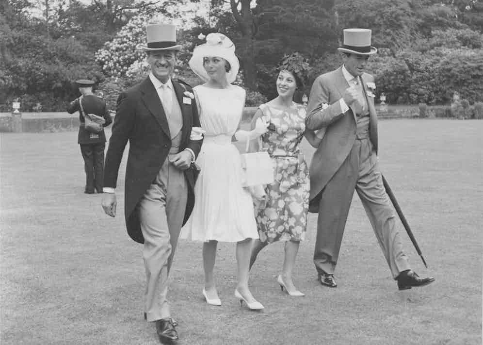 David and Primula Niven, left, with Veronique and Gregory Peck, right