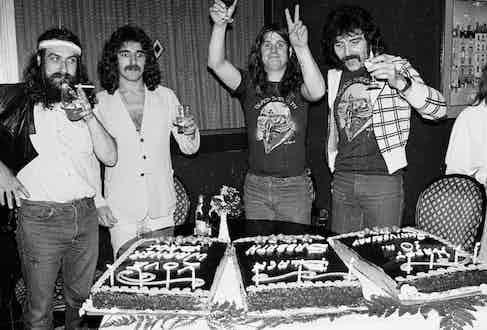 Left to right: Bill Ward, Geezer Butler, Ozzy Osbourne, Tony Iommi of Black Sabbath celebrate their 10th anniversary. Photo by Richard E. Aaron/Redferns.