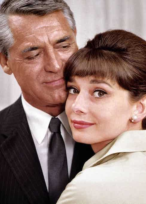 Grant and Audrey Hepburn, co-stars in Charade, 1963.