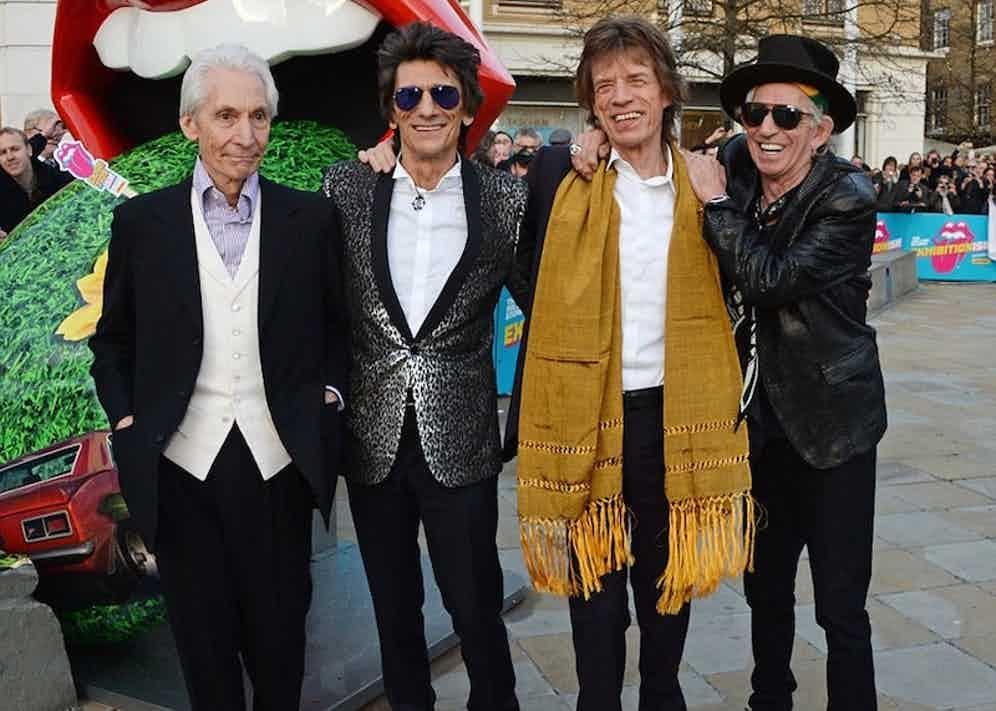 The Rolling Stones at the opening of the Saatchi Gallery's 'Exhibitionism', 2016.