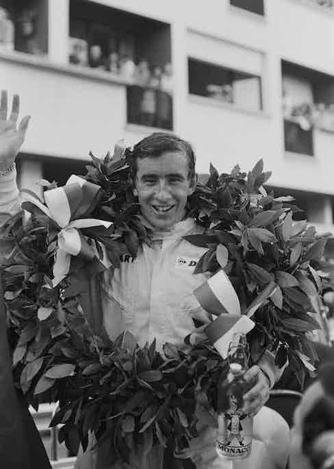 Scottish racing driver Jackie Stewart after winning the Monaco Grand Prix in a BRM P261, Monte Carlo, 22nd May 1966. (Photo by Victor Blackman/Daily Express/Hulton Archive/Getty Images)