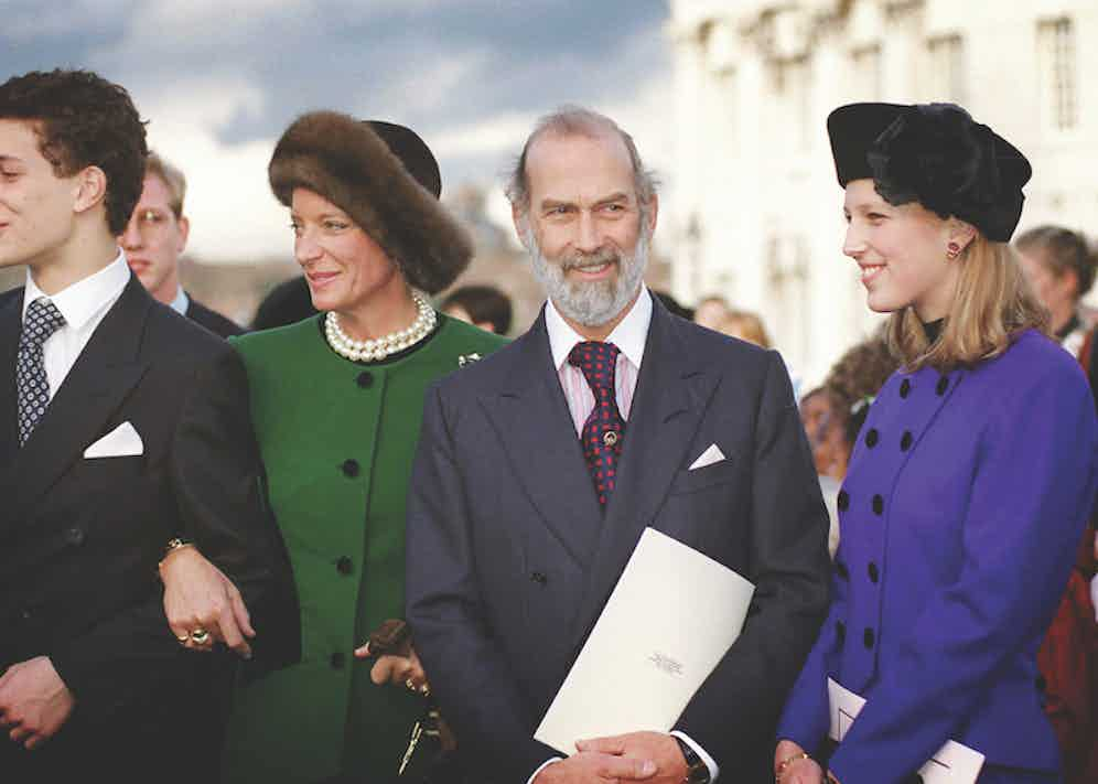 Prince And Princess Michael Of Kent with their children Lord Frederick and Lady Gabriella at a lunch at the Royal Naval College, Greenwich for members of royal families and guests attending the Golden Wedding Anniversary celebrations. Photo by Tim Graham/Getty Images.