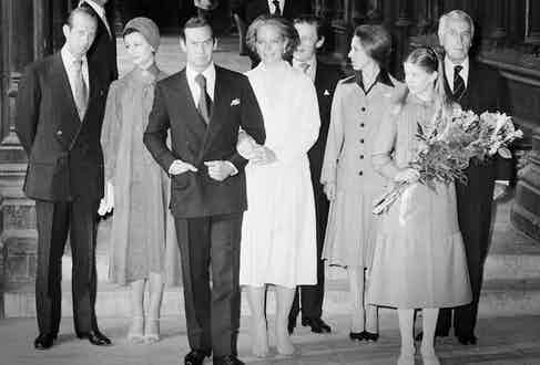 The royal wedding of Prince Michael of Kent and Baroness Christine von Reibnitz at the Town Hall in Vienna, 3rd July 1978. Guests, from left to right, The Duke of Kent, Princess Alexandra, her husband Angus Ogilvy (behind the bride and groom), Princess Anne; Lady Helen Windsor the daughter of the Duke and Duchess of Kent and Lord Mountbatten of Burma. Photo by Ian Tyas/Keystone/Getty Images.