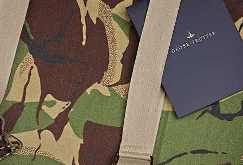 """Exclusive 30"""" Extra Deep Suitcase Lined In Fox Flannel, in collaboration with Globe-Trotter."""
