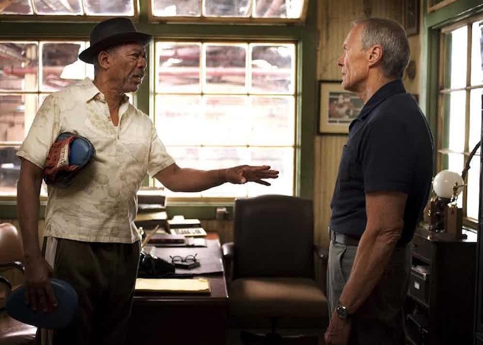Morgan Freeman and Clint Eastwood in Million Dollar Baby, 2004.