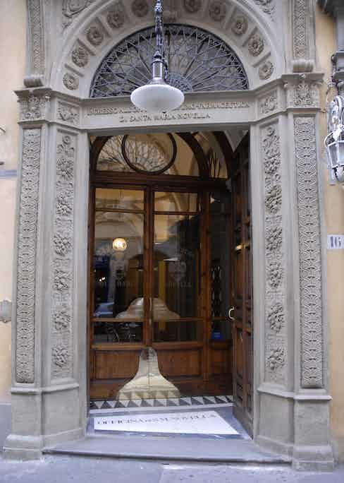 Store front of Officina Profumo-Farmaceutica Di Santa Maria Novella on Via della Scalla, Florence.