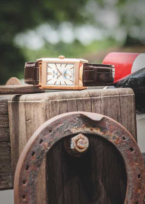 The 2015 Jaeger-LeCoultre Reverso Tribute Calendar in pink gold.
