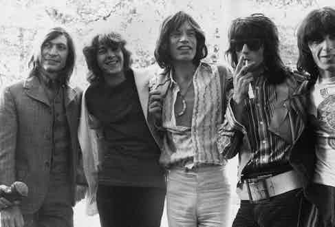 The Rolling Stones pose in Hyde Park, London, 1969. From left to right: Charlie Watts, Mick Taylor, Mick Jagger, Keith Richards and Bill Wyman. Photo by J. Wilds/Keystone/Getty Images.