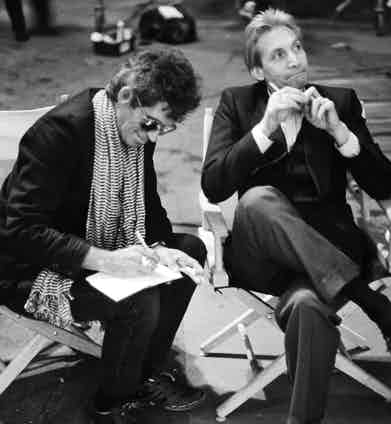 Guitarist Keith Richards and drummer Charlie Watts of the Rolling Stones on the set of the music video for 'One Hit (To the Body)' in England in May 1986. Photo by Michael Putland/Getty Images.