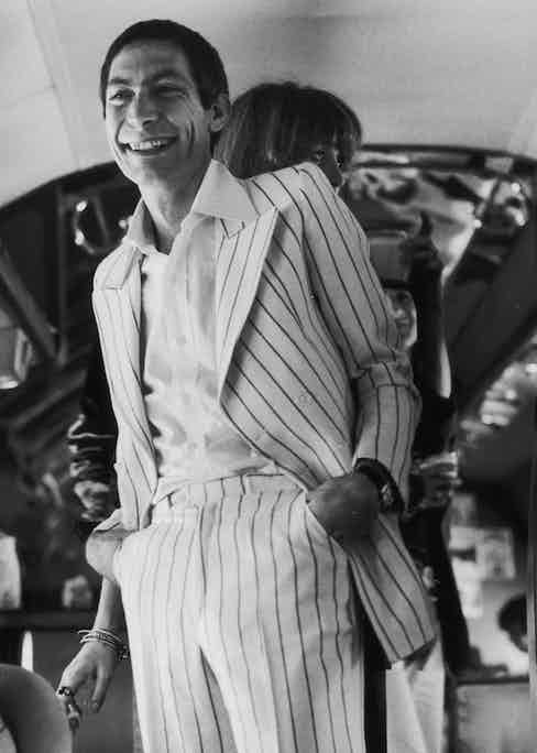 Drummer Charlie Watts in one of his many suits during the Rolling Stones' 1975 Tour of the Americas. Photo by Christopher Simon Sykes/Hulton Archive/Getty Images.