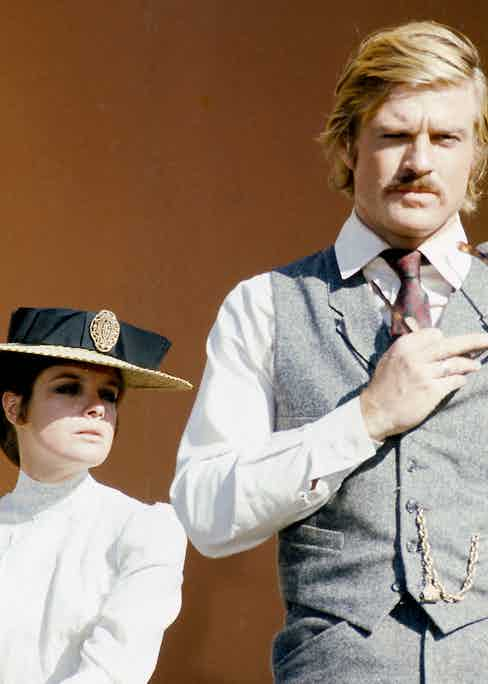 American actors Katharine Ross, as Etta Place, and Robert Redford as the Sundance Kid, in 'Butch Cassidy And The Sundance Kid', directed by George Roy Hill, 1969. Photo by Silver Screen Collection/Getty Images.