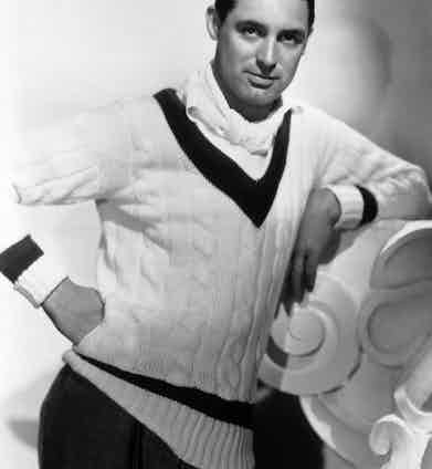 Cary Grant wearing a cricket sweater, 1934. Photo by John Kobal Foundation/Getty Images.