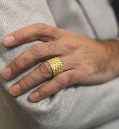"""This ring was designed by Lorenzo and is meant to look tailor-made: """"I was looking for an original men's ring and I figured, Why not design mine?"""" Now he accessorises less, as he prefers a simpler style."""