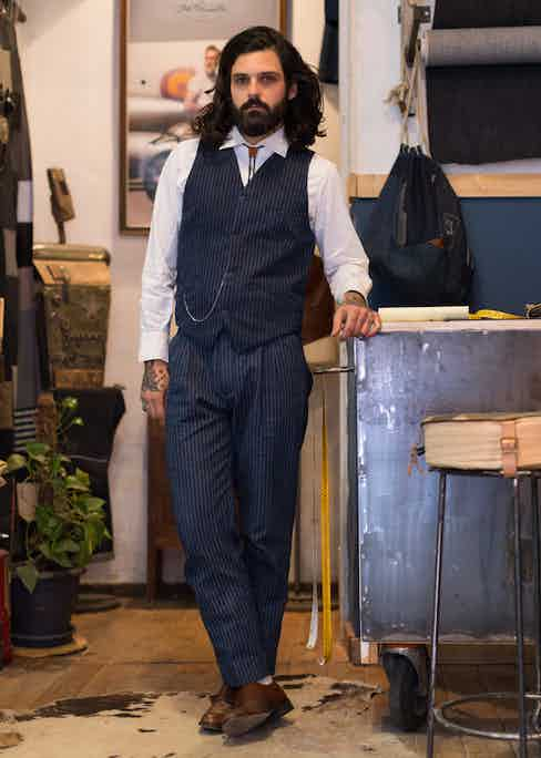 """His approach to denim is unconventional, but reflects the natural evolution we are currently seeing in menswear, with suits becoming more utilitarian and less exclusively formal. """"Tailoring is all about elegance, comfort and that unique feeling when you wear your bespoke garment – it does not mean you can only wear the garment for a more formal or casual occasion. I just try to make it more durable according to my lifestyle."""""""
