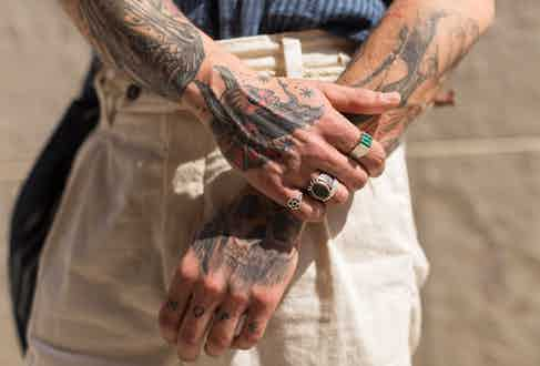 """Fernando's jewellery collection reflects the places he has been and their sentimental value. """"The dark green stone is from Turkey, as my dad lives there now, the small one with five point stars is from Australia where my brother lives, the others are from Madrid and Mexico."""""""