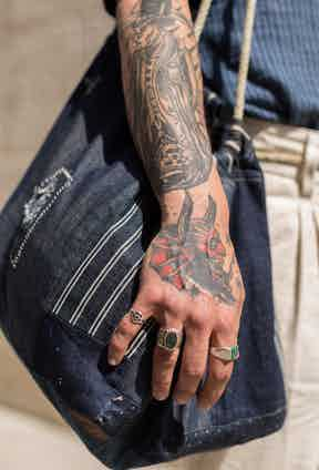 """""""I have some friends that are tattoo artists, and I let them interpret the meaning I want to express, which is a nice exchange for us to have as creative spirits. Most of them have a message or express my own personal life, things that I don't want to forget."""""""