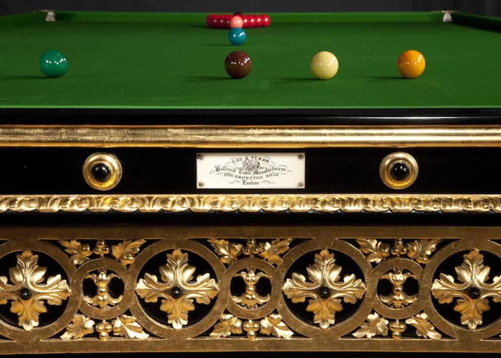 Gilded English Antique Billiard by Cox & Yeman circa 1895 (Photo courtesy of Billiard Room Ltd)
