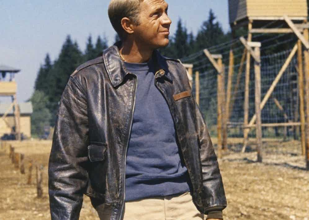 Wearing the iconic A-2 flight jacket in The Great Escape, 1963.