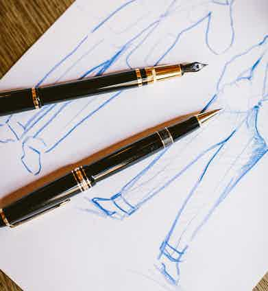 """""""These are very special because I love writing instruments and I collect them. I carry pens because I'm constantly creating – writing and drawing and illustrating."""" Adam's Montblanc ballpoint was a 21st birthday gift from his mother – """"it has amazing fluidity"""", and the Dunhill is a Sentryman; its design is based upon that of a pillar box. Although he enjoys working with lesser instruments – """"A cheap biro is the most beautiful apparatus to work with when you're drawing because it's almost like a rusty car you don't care about - you can throw it around in the traffic, you abuse it"""", he's also mindful that """"when you work with something beautiful, your work becomes beautiful."""""""