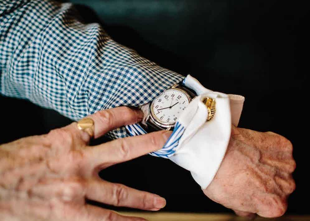 """With a sense that he's letting me into a huge secret, George tells me his watch is from """"bog standard M&S"""". Nevertheless, it has a timeless (excuse the pun) simplicity to it. """"It's not Rolex but I like it – it's more about what you like and how you put it together. In the 1970s I bought a watch, took the glass off and painted the face. You couldn't tell the time, but it started many interesting conversations about time, astronomy, the speed of light."""""""