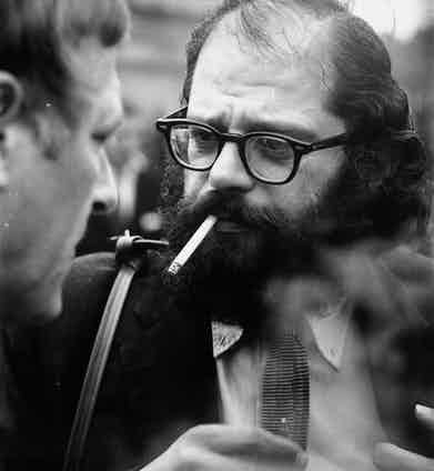 American poet Allen Ginsberg at the Albert Memorial in London. Photo by M Stroud/Getty Images.