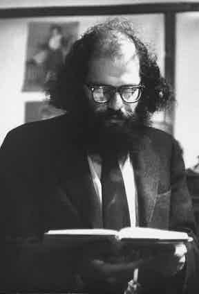 Poet Allen Ginsberg reading from book to unseen audience. Photo by Burt Shavitz/Pix Inc./The LIFE Images Collection/Getty Images.