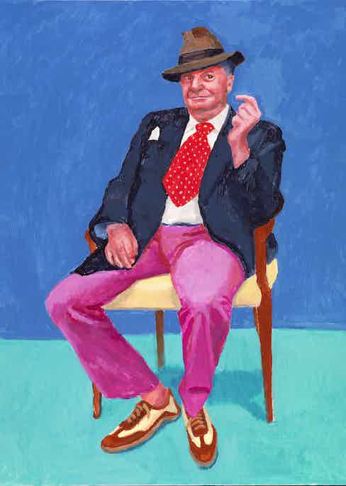 "David Hockney ""Barry Humphries, 26-28 March"" 2015 Acrylic on canvas 48 x 36"" © David Hockney Photo Credit: Richard Schmidt"