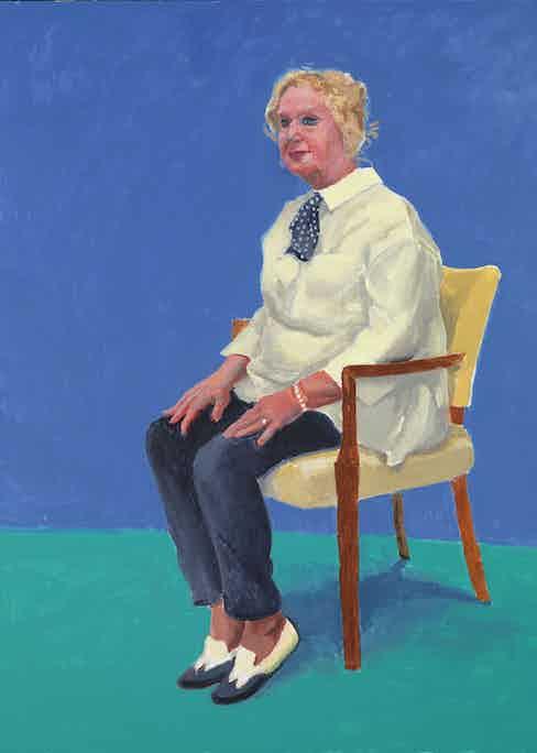 "David Hockney ""Celia Birtwell, 31 August - 4 September"" 2015 Acrylic on canvas 48 x 36"" © David Hockney Photo Credit: Richard Schmidt"