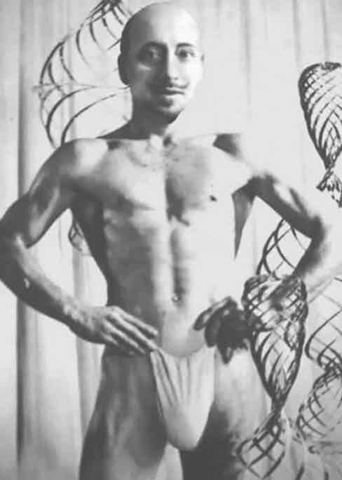 Gabriele D'Annunzio posing in just a pouch.
