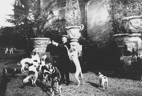 Gabriele d'Annunzio and his Dogs in the Garden of Capponcina. Photo by Photoservice Electa/UIG/Rex.