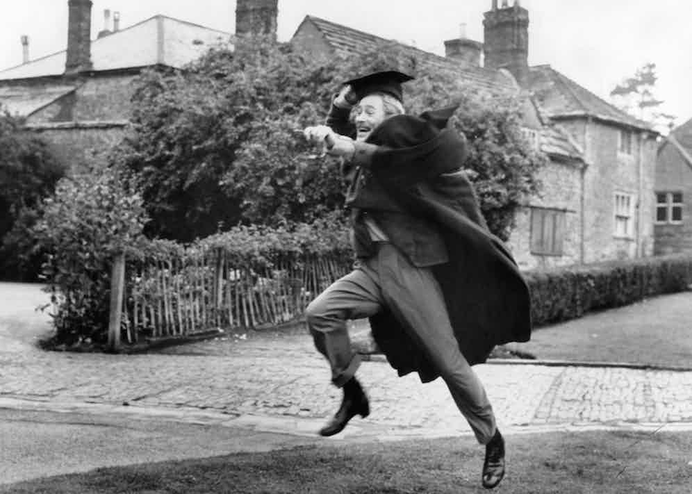 Peter O'Toole runs after his soon to be wife in a scene from the film 'Goodbye Mr. Chips', 1969. Photo by Metro-Goldwyn-Mayer/Getty Images.
