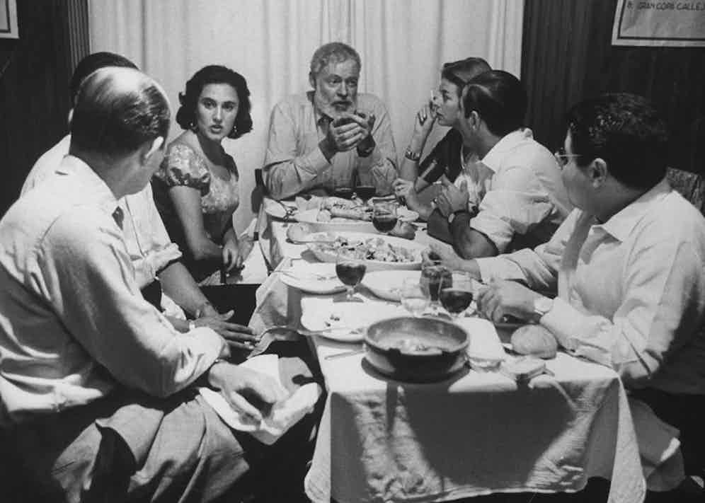 Author, Ernest Hemingway during visit with bullfighter Antonio Ordonez. Photo by Loomis Dean/The LIFE Picture Collection/Getty Images.