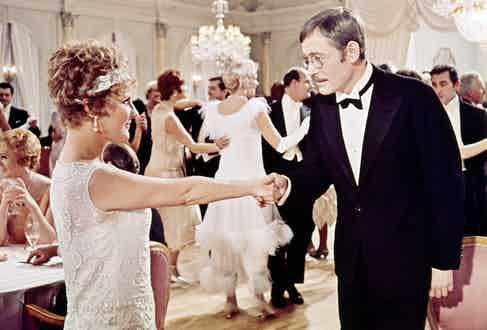 Peter O'Toole as Arthur Chipping, and  Petula Clark as Katherine Bridges, in a ballroom scene from 'Goodbye, Mr. Chips', directed by Herbert Ross, 1969. Photo by Silver Screen Collection/Getty Images.