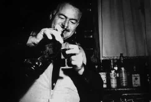 Ernest Hemingway in Cortina d'Ampezzo, Italy, 1950. Photo by Apic/Getty Images.