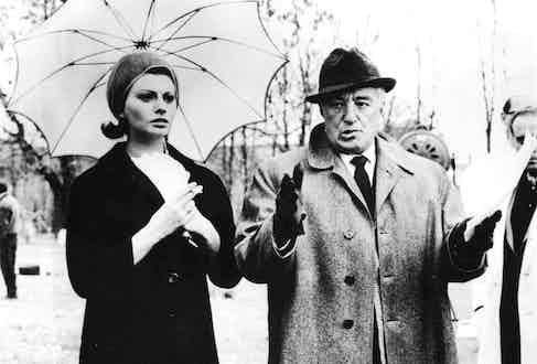 Sophia Loren with Vittorio de Sica, 1962. Photo by Sipa Press/REX.