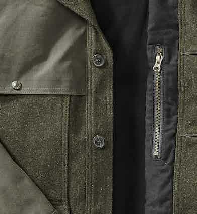 Close-up of Filson's Mack Tin Cruiser Jacket.