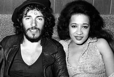 Springsteen backstage at the Bottom Line Club in New York with Ronnie Spector in 1975 during his Born To Run tour. Photo by Richard E. Aaron/Redferns.