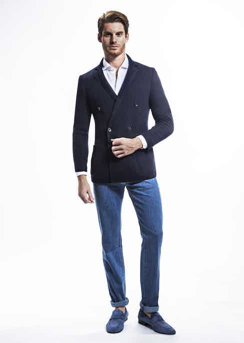 Navy Double Breasted Cashmere Jacket, White Classic Spread Collar Cotton Shirt, Light Blue Jeans and Blue Suede Penny Loafers; all Cifonelli for TheRake.com.