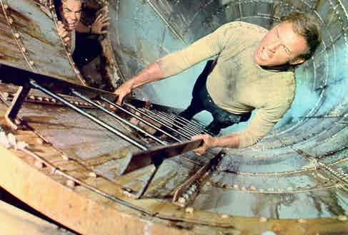 Gene Hackman in a scene from the movie 'The Poseidon Adventure', 1972. Photo by Stanley Bielecki Movie Collection/Getty Images.