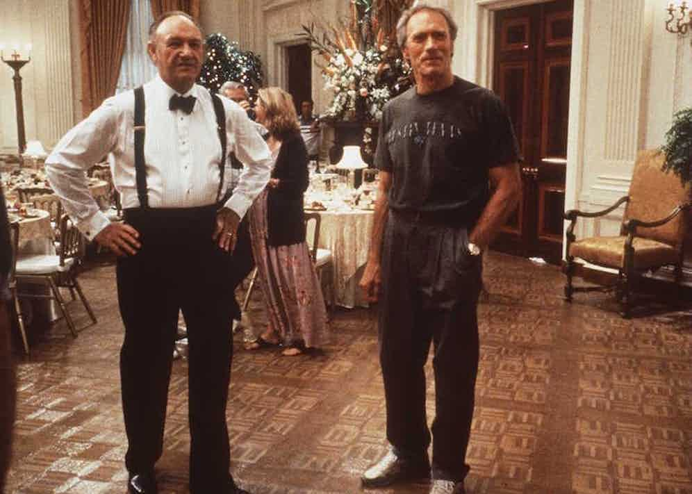"""Clint Eastwood and Gene Hackman on the set of """"Absolute Power"""". Photo By Getty Images, copyright Castle Rock Entertainment."""