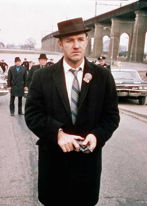 Gene Hackman as Detective Jimmy 'Popeye' Doyle, in a still from the film 'The French Connection', 1971. Photo by 20th Century Fox/Hulton Archive/Courtesy of Getty Images.