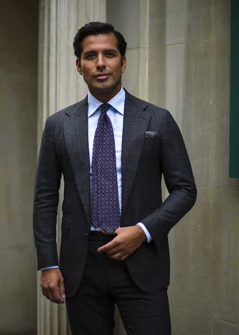 """""""Personally, I enjoy patterns that remain subtle at first glance yet which also hold a unique interest to the eye"""", says Manolo, """"scale is equally important too."""" On ties, Costa explains; """"We carry a curated selection of three-fold and seven-fold neckties, the large majority of which come out of Italy. There are four things I look for in a tie. One, the cloth it's constructed from. Two, the shape given to it. Three, the grace with which it hangs. Four, the knot one chooses."""""""