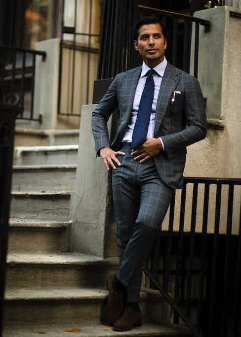 """As you might expect, Manolo routinely wears his own suits. """"They are both cut in our house style, our approach revolves around creating bespoke tailored clothing that captures a timeless American aesthetic – one that celebrates a very inviting yet distinctive silhouette. Our shoulder is soft and natural, complimented by a prominent, high-set lapel. Modern, with a slight sex-appeal is the expression of choice."""""""