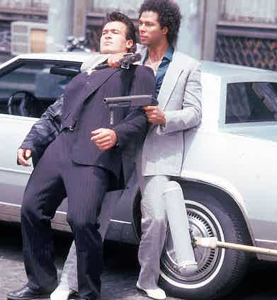 Philip Michael Thomas shooting a scene from Thomas's television series Miami Vice.  Photo by David Mcgough/DMI/The LIFE Picture Collection/Getty Images.