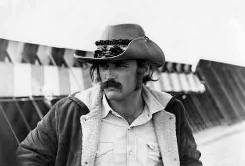 Actor and director Dennis Hopper in a scene from his movie 'Easy Rider' in 1969. Photo by Michael Ochs Archives/Getty Images.